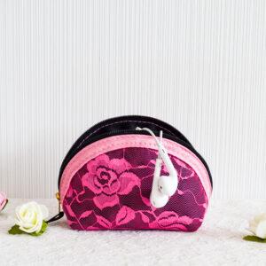 De la Rose kosmeetikakott mugav pitsist roosa käekotti