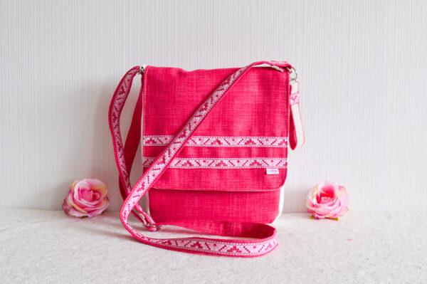De la Rose roosa eesti käsitöökotid uuskasutusena mööbikangast vastupidav crosbody bag