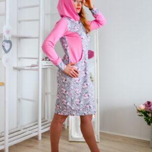De la Rose dresskleit pehmest dresskangast/trikotaazist kapuutsiga